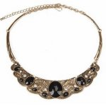 A-CJ-9258 Vintage moon black crystal bead statement necklace mal