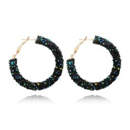 A-SD-XL0790 Mysterious Bead Korean Inspired Hoop Round Earstuds