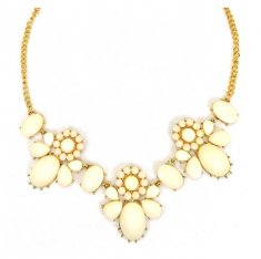 A-H2-X181white Milky White Spring Gemstones Statement Necklace