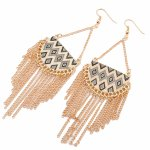 P119738 Black bohemian pattern korean hook earrings malaysia