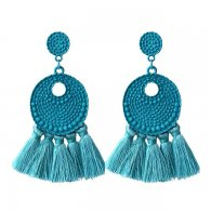 A-FF-E3708turquoise Turquoise Bubbly Textured Circle & Tassel Ea