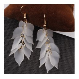 A-SD- SL271white White Petals Korean Hook Earrings