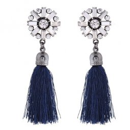 C0150748141 Shiny Crystals Korean Inspired Navy Blue Tassel Ears