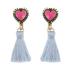 C09082797 Cuties White Tassels Pink Heart Gold Chain Earstuds