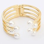 P116201 Pearl gold bangle korean accessories online shop