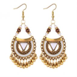 P131289 White Stone Brown Beads Gold Tangling Bells Hook Earring