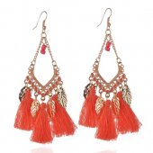 A-QD-8032o Orange Leaves Dangling Tassel Hook Earrings