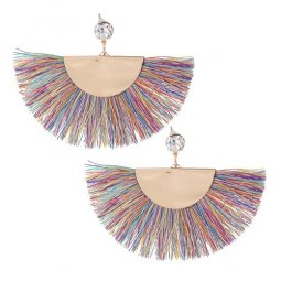C090526165 Rainbow Tassels Gold Diamond Stylish Earstuds