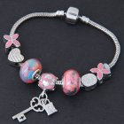 C101127278 Pink Beads Flora Clover Silver Charm Bracelet