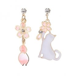 B-ASE-938- White Cat Pink Sakura Flower Earstuds Earrings