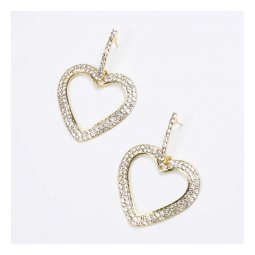 A-FX-E3135 Statement Heart Shape Crystal Studded Korean Earrings