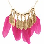 B-F-leave5 Pink leave long necklace korean accessories malaysia