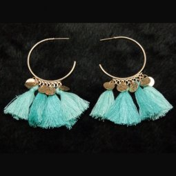 A-SD-EH0218mint Mint Gren Gold Round Charms Tassel Earstuds