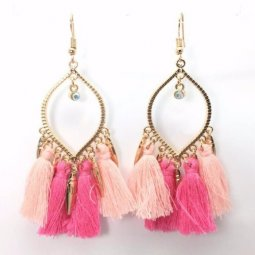 A-KJ-E020464p Pink Bohemian Oval Charms Tassel Hook Earrings