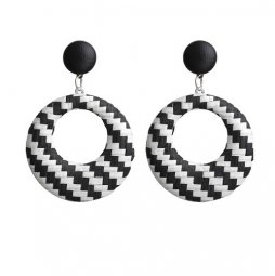 A-FX-E6011- Black White Lattice Circle Earstuds Earring