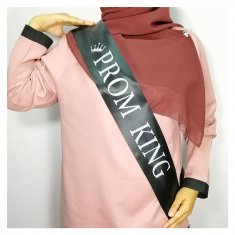 A-HP-PromKing(B) Black Prom King Gray Wording Party Sashes
