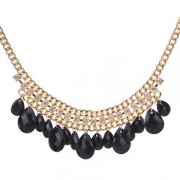 A-CJ-CZ9501 Black teardrop bead shiny crystals statement necklac