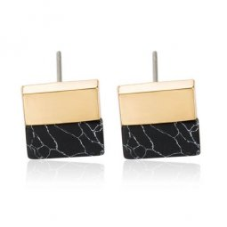 A-JW-6964 Black Block Trendy Marble Gold Side Trendy Earstuds