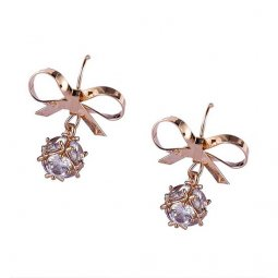 A-GH-ONNUTO-ribbon Mini Ribbon Gold Hook Crystal Facets Earrings