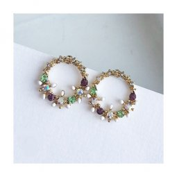 A-TT-54ROUND Green & Purple Crystals Ring Korean Earstuds
