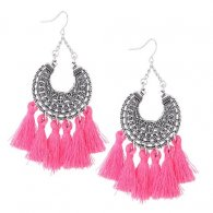 C015080149 Pink Tassel Antique Silver Hook Earrings Wholesale