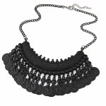 C10123269 Black dangling charm korean choker necklace shop