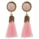 A-YX-E6092pink Pink Round Vintage Tassel Earstuds Wholesale Shop
