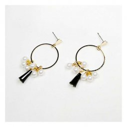 A-JX-E517 Mini Heart Stud Circle Gold Mini Pearls Korean Style