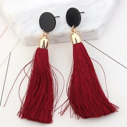 P126909 Maroon Red Dangling Tassel Earstuds Malaysia Wholesale