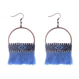 A-DW-HQE868BLUE Blue Tassels Plaited Design Ring Hook Earrings