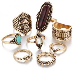 A-PJ-21H204 Brown Elegant Bead Dinner Midi Chunky Ring Set