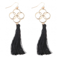 A-DW-HQE647black Flower Sign Balck Tassel Hook Earrings