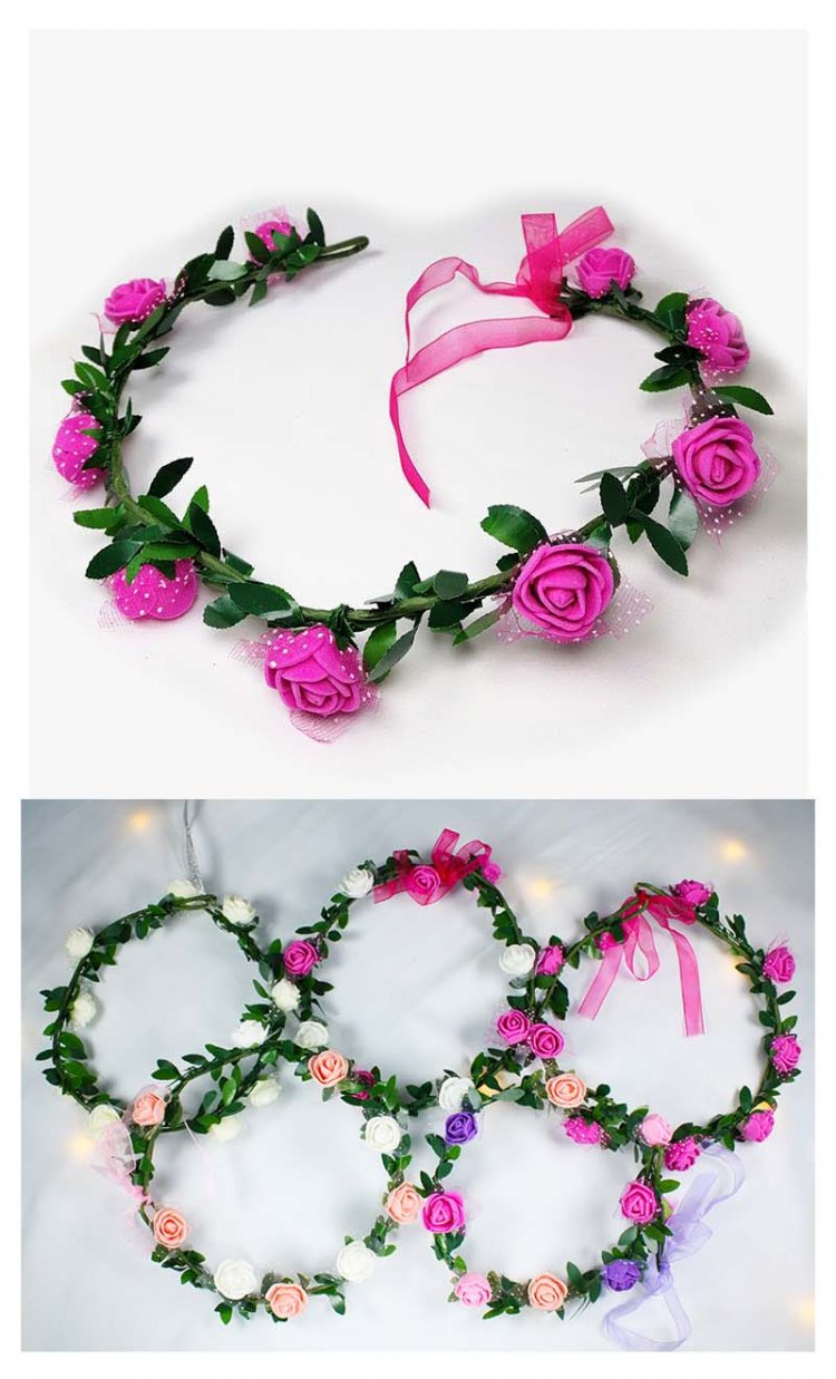 A-LB-010pink Flowergirl Crown Pink Roses Flora Edition Headband