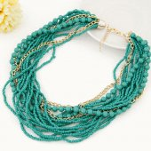 C013080611 Green beads layers colourful choker necklace malaysia