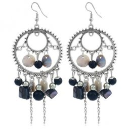 C0150712192 Black Shells Beads Silver Round Earrings