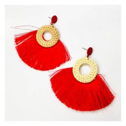 A-FX-E6115red Red Tassel Round Hoop Rattan Bali Earrings