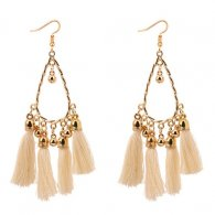 P129069 White Tassel Oval Elegant Hook Earrings Malaysia