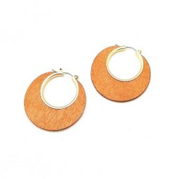 A-LG-ER1082-3 Wooden Simple Classic Circle Earstud Earring