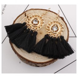 A-SD-XL0326(black) Gold Round Crystal Black Tassel Hook Earrings
