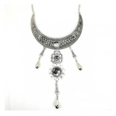 A-CJ-9281 Silver Javanese Flower Grey Gemstones Statement Neckla