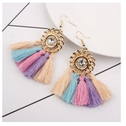A-SD-XL0326colour Colourful Threads One Diamond Earrings