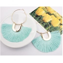 A-SD-XL109633green Green Blue Huge Tassels Vogue Gold Hoops Ring