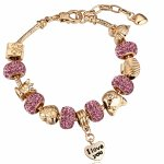 P117873 Shiny purple gold I LOVE YOU charm bracelet malaysia