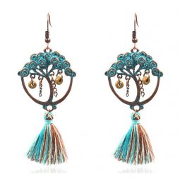 A-HH-HQEF1100 Turquoise Tassel Mix Tree Form Hook Earrings
