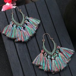 A-HH-HQEF1068mix3 Turquoise Mix Tassel Oval Curve Hook Earrings