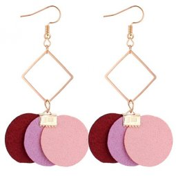 P131113 Red Pink Beige Geometry Korean Inspired Earrings
