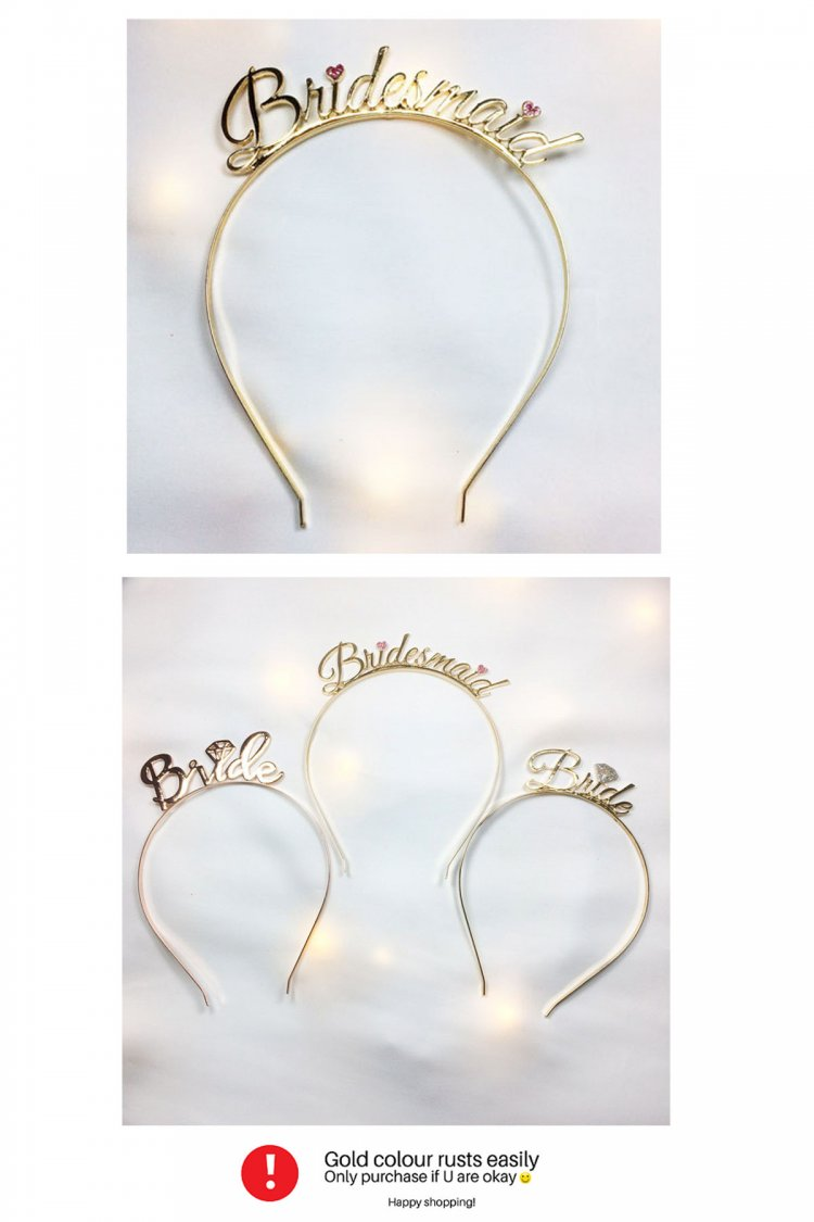 A-JF-HGC-10117 Golden Wedding Bridesmaid Wordings Hairband