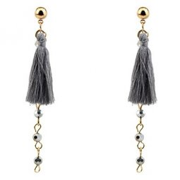 P128070 Grey Dangling Crystal Bead Tassel Earstuds Wholesale