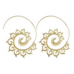 A-YG-sku4755g Gold Spiral Stylish Flower Curve Earstuds