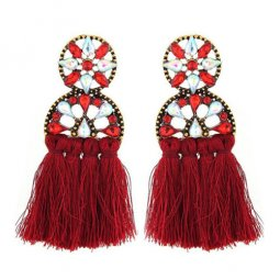A-FX-3397R Red Tassel Clear Crystals Trendy Fashion Earstuds